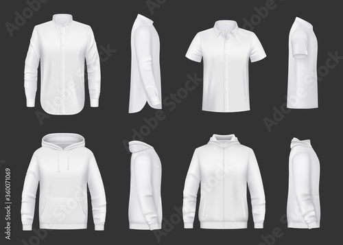 White sweatshirt, hoodie and shirt realistic vector mockup of men clothes. Front and side views of shirts with hood, long and short sleeves, zipper and pocket, 3d template of sweaters, sport jackets #360071069