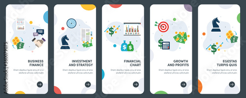 Fototapeta Set of concept flat design icons of business, finance, investment, strategy and growth. UX, UI vector template kit for web design, applications, mobile interface, infographics and print design. obraz