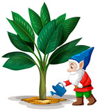 Goblin watering tree position in cartoon character on white background