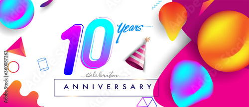 10th years anniversary logo, vector design birthday celebration with colorful ge Fototapete