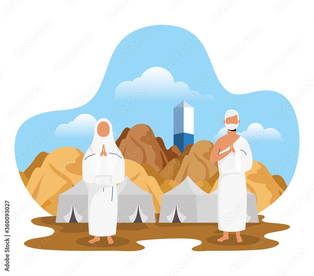 Fototapeta Hajj pilgrimage with couple and tents scene