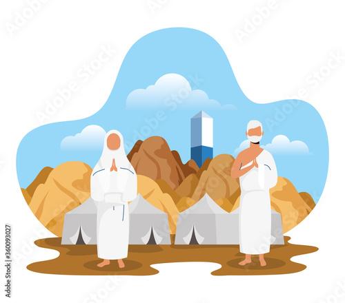 Hajj pilgrimage with couple and tents scene