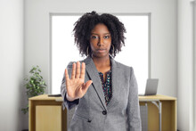 Businesswoman Holding Hands Up...
