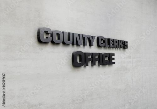 Slika na platnu A building metal signage that says 'County Clerk's Office'.