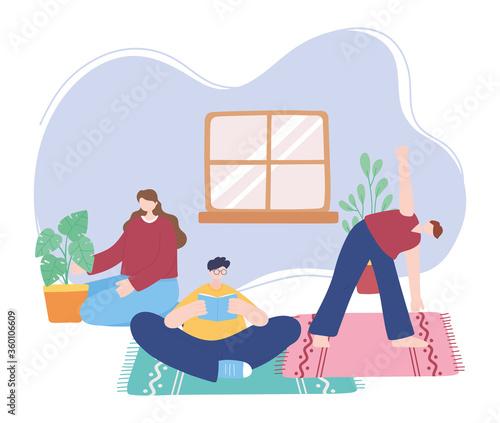 Fototapeta stay at home, people making different activities, self isolation, quarantine for coronavirus obraz na płótnie