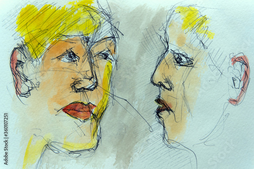 Fototapety, obrazy: sketch of two women in a coffee bar in italy