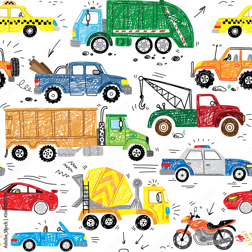 cool transport doodle hand drawn seamless pattern with police car, garbage truck, sport car, safari, taxi