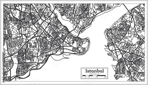 Photo Istanbul Turkey City Map in Black and White Color in Retro Style