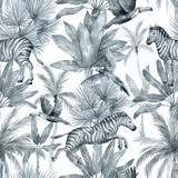 Watercolor seamless pattern with tropical palm trees and zebra. Banana palm, zebra, parrot, toucan. Gently silver background with wildlife jungle elements. Aesthetic vintage wallpaper, wrapping - 360112644