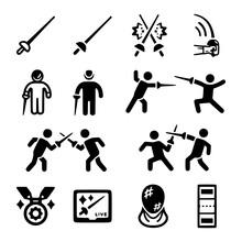 Fencing Icon Set Vectorsymbo...