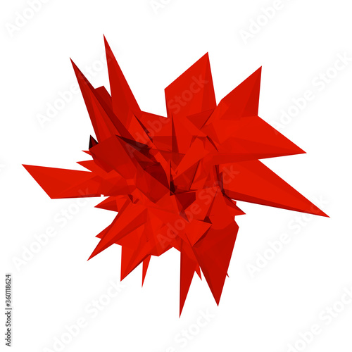Abstract 3d render - deformed red geometric shape with triangular faces on white Fototapeta