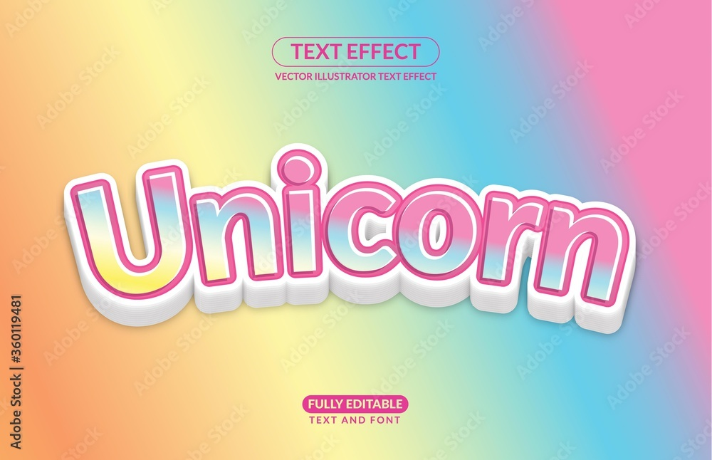 Fototapeta Editable Text Effect Unicorn Horse Rainbow Playful Color Vector Style for advertising, social media branding, and many and many More