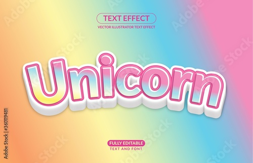 Obraz Editable Text Effect Unicorn Horse Rainbow Playful Color Vector Style for advertising, social media branding, and many and many More - fototapety do salonu