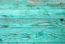Weathered Blue Wooden Background Texture. Shabby Wood Teal Or Turquoise Green Painted. Vintage Beach Wood Backdrop.
