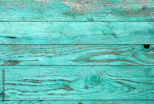 Fototapeta Weathered blue wooden background texture. Shabby wood teal or turquoise green painted. Vintage beach wood backdrop. obraz