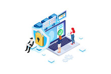 Modern Isometric Online Administrator, Web Hosting Concept. Technician Repair Software. Hardware Protection Share Infographic. Store Safe Server. Suitable For Diagrams, Game Asset, And Other Asset