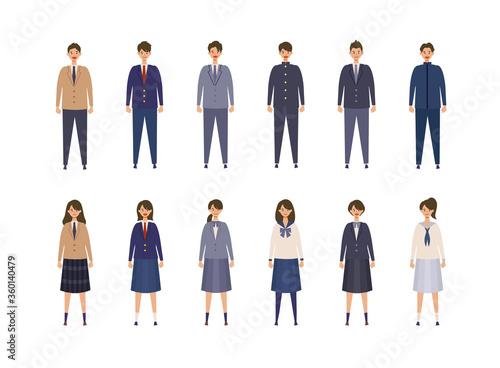 様々な制服を着た男女の高校生 中学生のイラスト 色々なブレザー 学生服を着た学生のベクターイラスト 新入学 学生生活のコンセプトイメージ Adobe Stock でこのストックベクターを購入して 類似のベクターをさらに検索 Adobe Stock