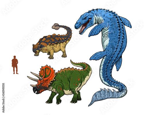 Платно Set of 3 dinosaurs