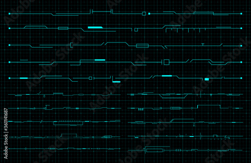 Fototapeta Set of HUD futuristic header, footer and line elements on dark hi tech background. FUI design elements for web, banner, flyer, music event. Editable stroke. Good for animation. Vector obraz