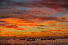 Fishermen Boats Silhouettes In...