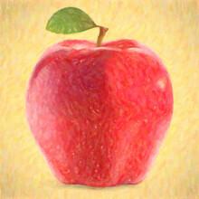 Impressionnisme, Pommme Fruit Rouge Avec Une Feuille Verte
