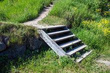 Old Wooden Stairs Leading Up O...