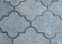 Paving Slabs Of Gray Stone Texture Background Closeup