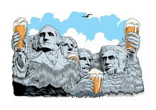 Four Presidents Drinking Beer....
