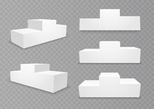 Pedestal For Winners With Empty Steps. Podium For An Award Ceremony, Stand For Contest Winners And Champions. 3d Platform Isolated On A Transparent Background. Vector Illustration.