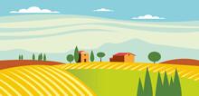 Illustrazione Piatta Di Paesaggio Toscano Calmo Di Giorno