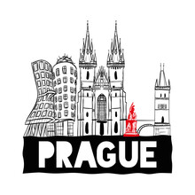 Prague Hand Drawn Skyline. Vec...
