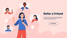 Refer A Friend Concept. A Young Woman Holding A Phone With A List Of Her Friends Contacts. Trendy Flat Vector Illustration On Pink Background For Banners, Landing Page Template, Mobile App.