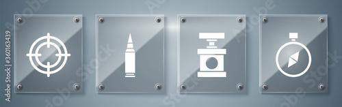 Fotografia Set Compass, Handle detonator for dynamite, Bullet and Target sport