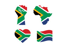 South African Flag In Various Shape Icon Set Vector. Flag Of South Africa In The Shape Of A Clenched Fist, Heart And African Continent. Flag Of South Africa Icon Set Isolated On A White Background