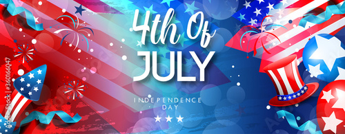 Fototapeta Fourth of July Independence Day. Vector illustration greeting card with brush stroke background in United States national flag   obraz
