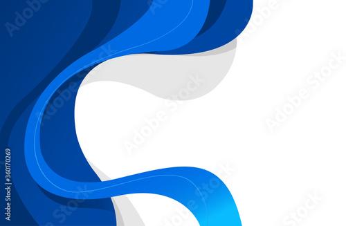 Fotografija Sfondo blu e bianco con onde, curve per il web design moderno