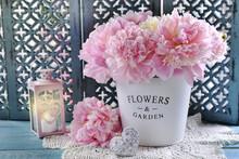 Bouquet Of Pink Peonies In Met...