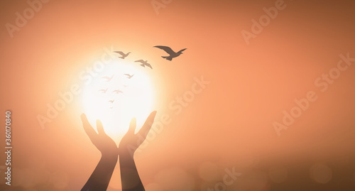 World mental health day concept: Silhouette prayer praise God and bird flying on Canvas Print