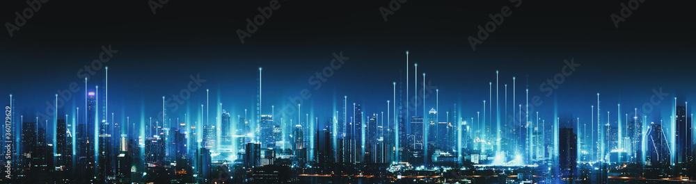 Fototapeta Smart Network and Connection city of Bangkok Thailand at night