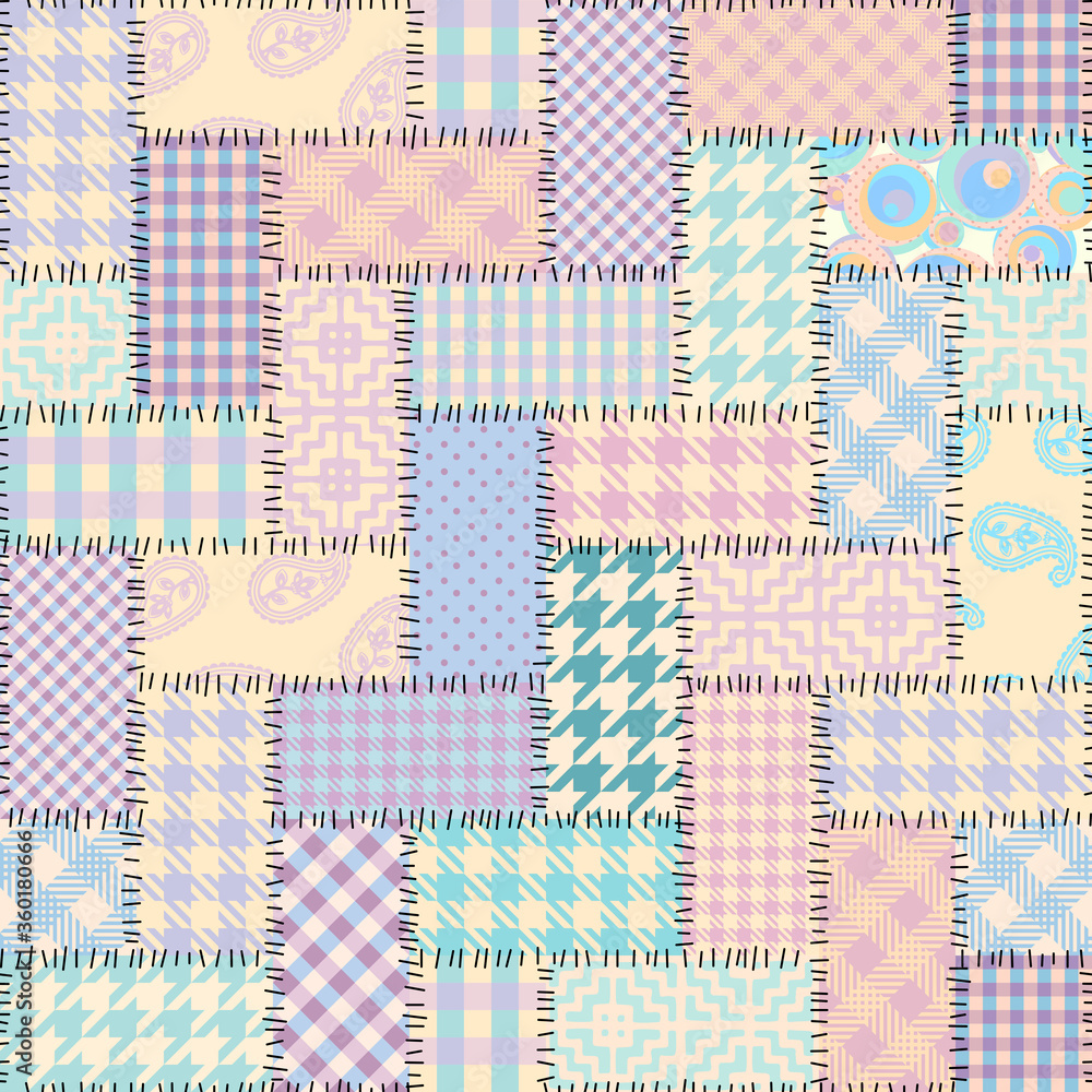 Seamless background pattern. Textile patchwork pattern in pastel colors. Vector image
