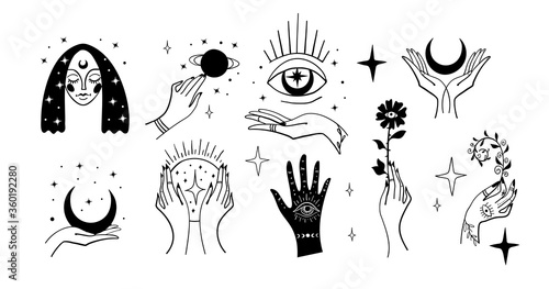 Платно Set of black magic stickers, boho design elements, tattoo, alchemical symbols, esotericism and witchcraft