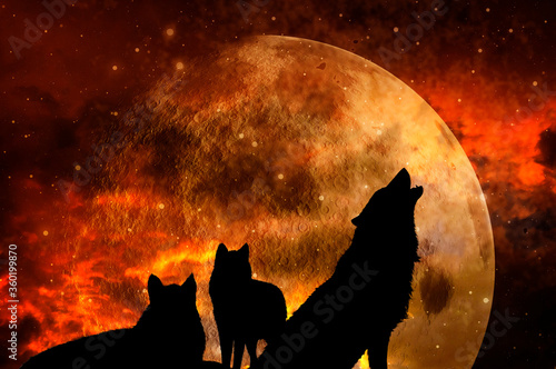 Canvas Print three wolves - pack of wolves over background with planet and universe like myst
