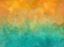 Turmoil In Orange And Turquoise With Loose Brush Strokes