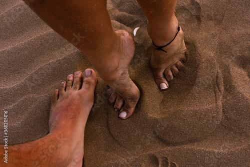 los pies, los pies, playa, dedo del pie, arena, descalzo, mano, niño, pata, bebé Canvas Print