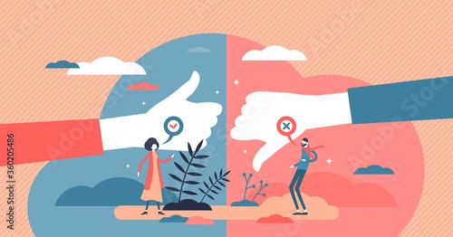Obraz na plátně Pros and cons advantage comparison tiny persons concept vector illustration