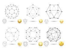 Set Of Geometric 3D Polyhedron Shapes From Triangular Faces For Graphic Design. Frame Volumetric Gold Form With Edges And Vertices. Geometry Scientific Concept Isolated On White