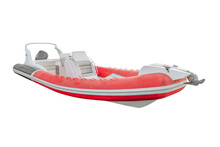 Red Inflatable Motor Boat Isol...