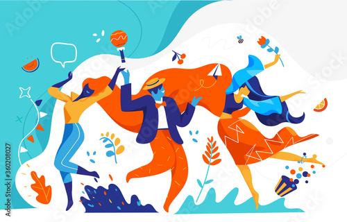 Uomini e donne festeggiano e danzano insieme Fototapeta