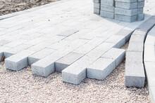 Decorative Creating Of Pavement With Block Paving, Brick Paving