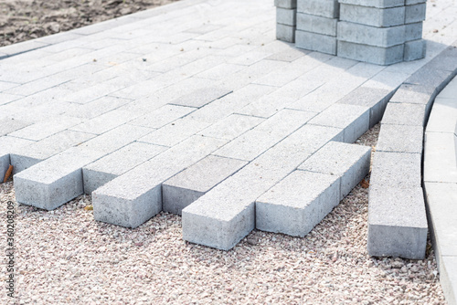 Canvas Print decorative creating of pavement with block paving, brick paving